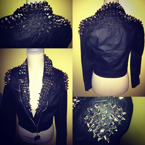 Mad  Motto Spiked Leather Jacket by IvylisseTrends on Etsy, $200.00