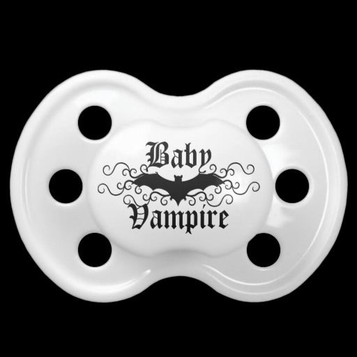 Cute baby vampire gothic bat elegant Halloween Pacifiers by the Hopeful Romantic.