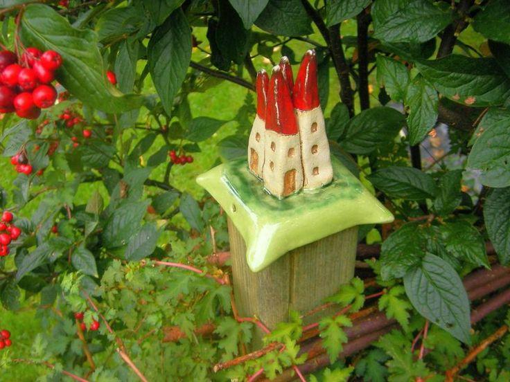Gartendekoration - Pfostenkappe aus Keramik, 7x7cm, ♥HÄUSCHEN♥ - ein…