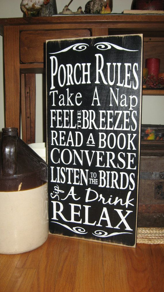 Custom Color, Porch Rules, or Patio Rules, Primitive, Subway Art, Typography, Distressed, Sign, Decor