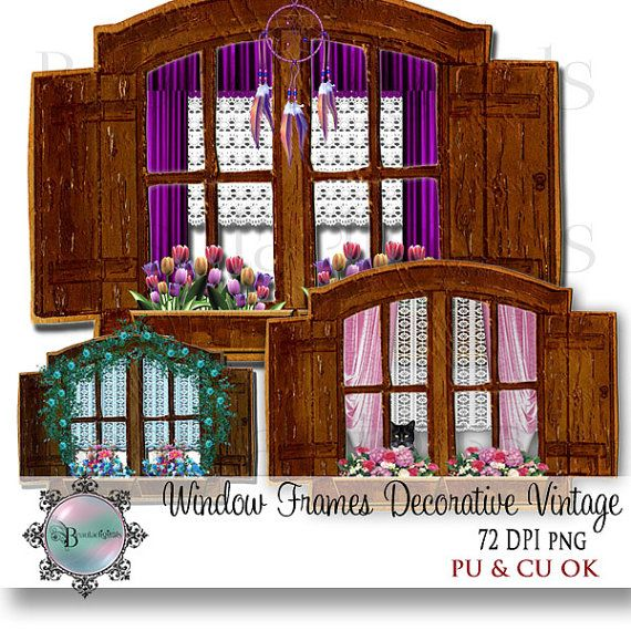 Window Frames Decorative Rustic Vintage Clip Art by Beauladigitals