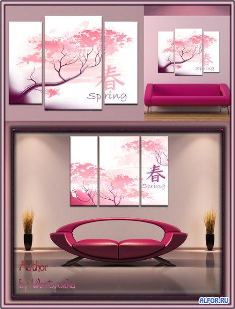 Модульная картина Триптих с японской вишней в psd формате - Чудесное цветение сакуры