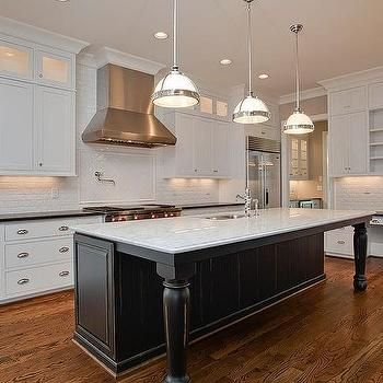 Three Restoration Hardware Classic Clemson Pendants Illuminate A Black  Distressed Kitchen Island With Turned Legs Topped With White Marble Fitted  With A ...