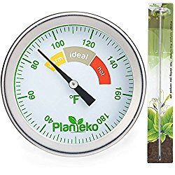Compost Thermometer – Stainless Steel Soil Thermometer Extra Thick Probe – Color Coded Fahrenheit Dial – Long 20 Inch Stem – Composting Guide included