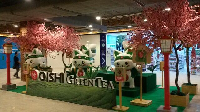 Oishi Green tea - photo back drop display