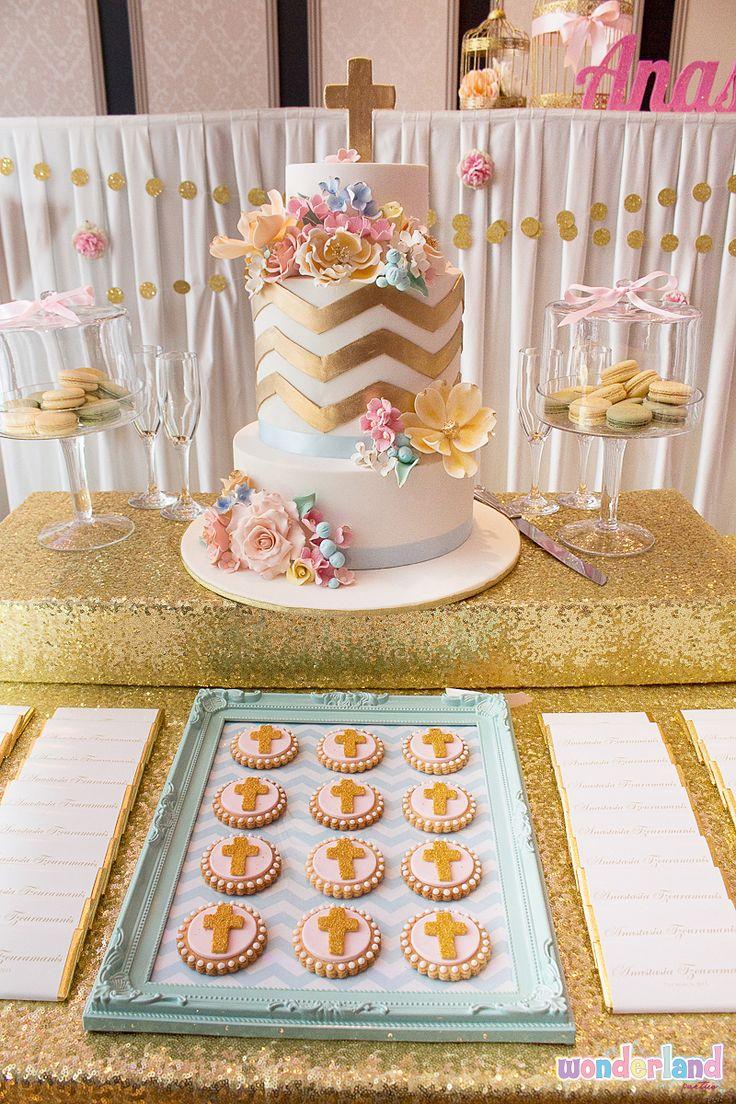 Sparkly gold cross cookies for girls christening www.wonderlandparties.com.au