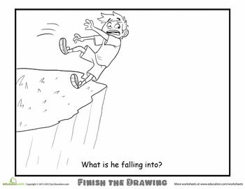Worksheets: Finish the Drawing: What is he Falling Into?