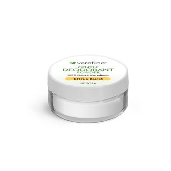 We are so excited about our Gentle Deodorant Powder! This deodorant effectively absorbs wetness and controls body odor. It contains low levels of baking soda and is especially well-suited for sensitive skin. Here's how it works:  * Arrowroot powder absorbs wetness. * Baking soda neutralizes odors. * Magnesium hydroxide helps control odors. * Essential oils smell wonderful and are unfriendly to bacteria.  To use, simply apply to the underarms with enclosed powder puff.