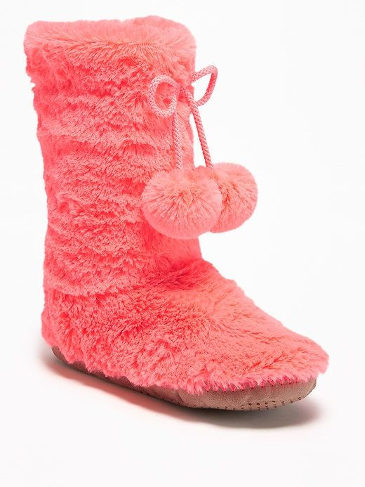 Old Navy Faux-Fur Pom-Pom Slipper Boots for Girls
