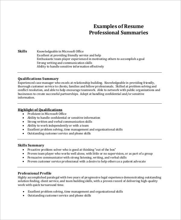 20 Ideas For Professional Summary Resume Sample Professional Resume Examples Professional Resume Resume Summary Examples