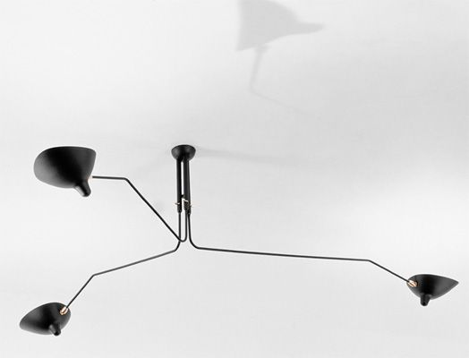 Serge Mouille 3 Arm Ceiling Lamp