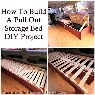 The Homestead Survival | How To Build A Pull Out Storage Bed DIY Project | http://thehomesteadsurvival.com