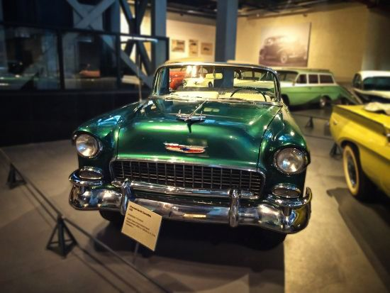 Chevrolet Belair convertible flaunting the 'motoramic' styling which complemented well with the rock & roll culture! #heritagetransportmuseum #htm #exhibit #vintagecollection #vintagecars #classiccars #classiccollection #chevrolet #belair