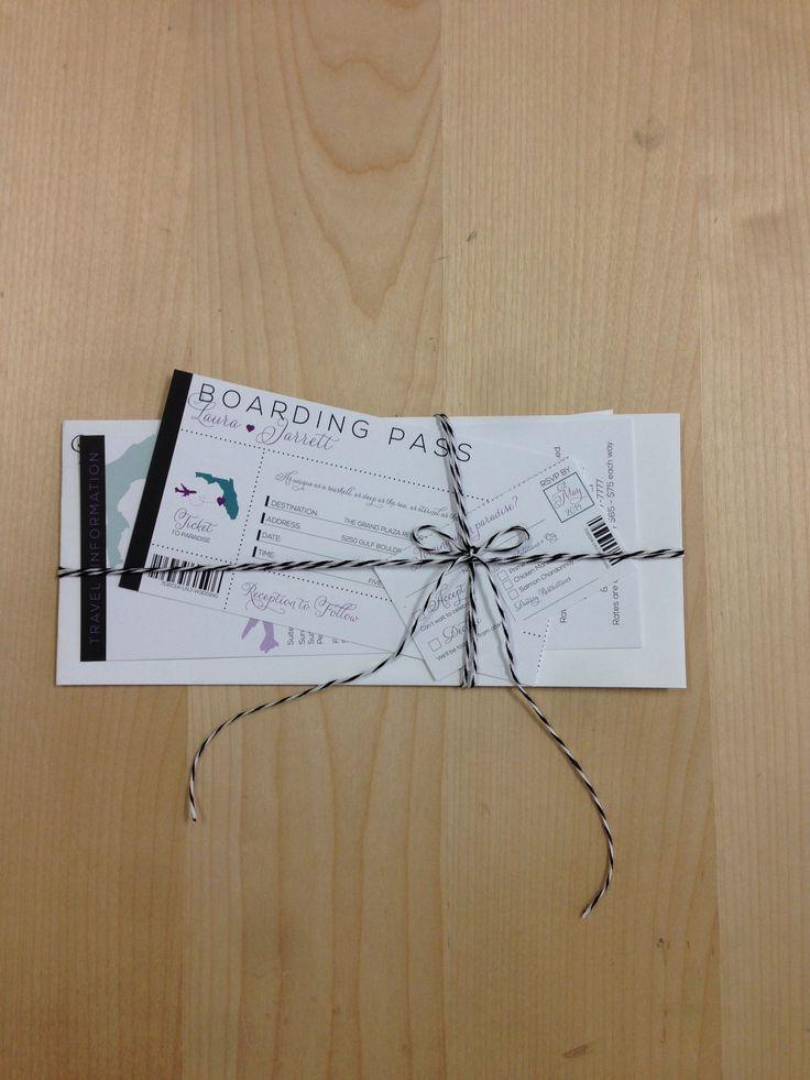 card templates for wedding invitation%0A Destination Boarding Pass Wedding Invitation with REAL Perforated RSVP Card   Many Color  u     Design Options