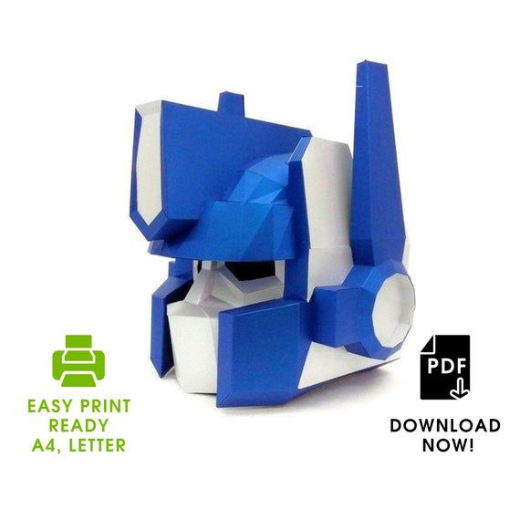 DIY Robot Optimus Prime 3D Paper Mask For Cosplay New