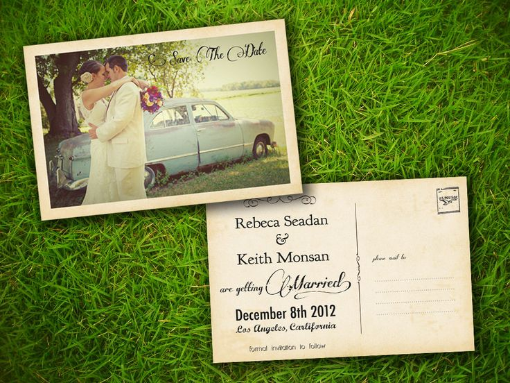46 best Save the Date/Wedding invites images on Pinterest - postcard wedding invitations template free
