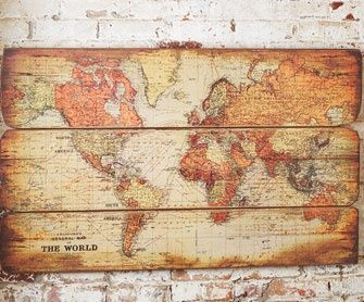 A little bit of pallet wood, a map and some mod podge and you are all set!