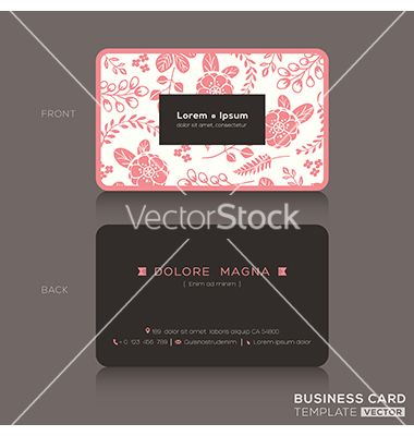 441 best business card templates images on pinterest business card cute business card pink floral pattern background vector by kraphix on vectorstock fbccfo Image collections