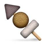 Japanese Food Emoji - Oden: Oden is a type of Japanese stew typically eaten in winter and includes a wide variety of ingredients, such as fish cakes, fried tofu, and konnyaku. Sometimes the ingredients are skewered rather than eaten from a bowl.