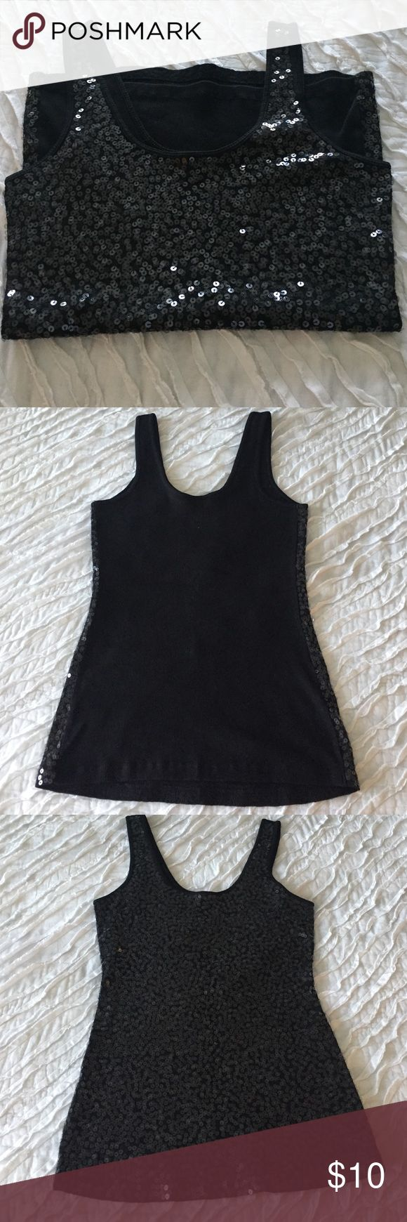 Sequined black tank top Fun and festive sequin black express tank top. Like new condition and maybe worn once. Express Tops Tank Tops