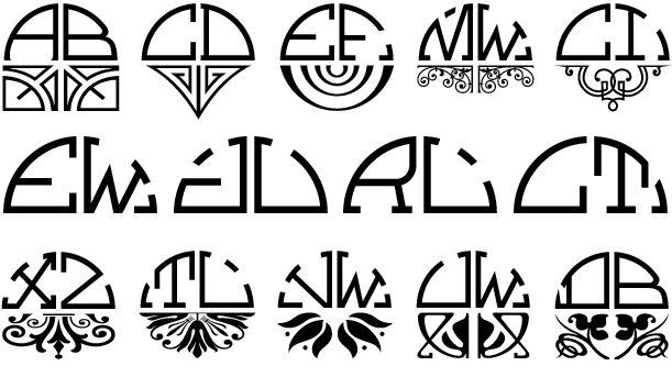 Art Deco style monogram....Semicirculus Monogram Font by Monogram Fonts Co.