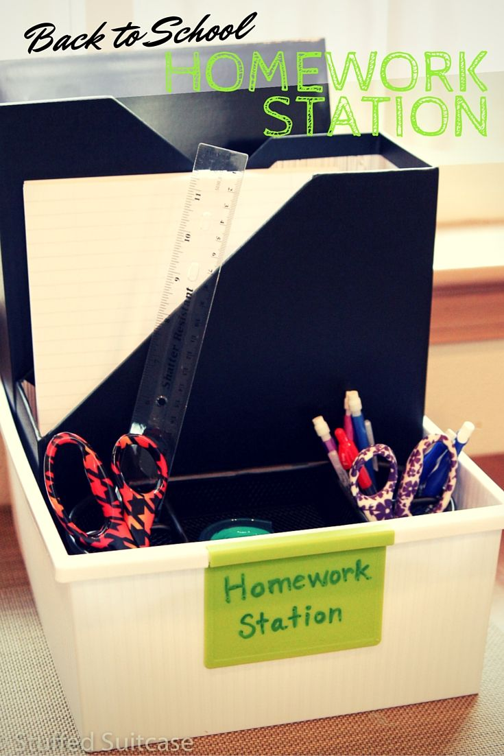 Create a back to school homework station for kids to use each day - plus this one is portable and easy to put away when the work is done!