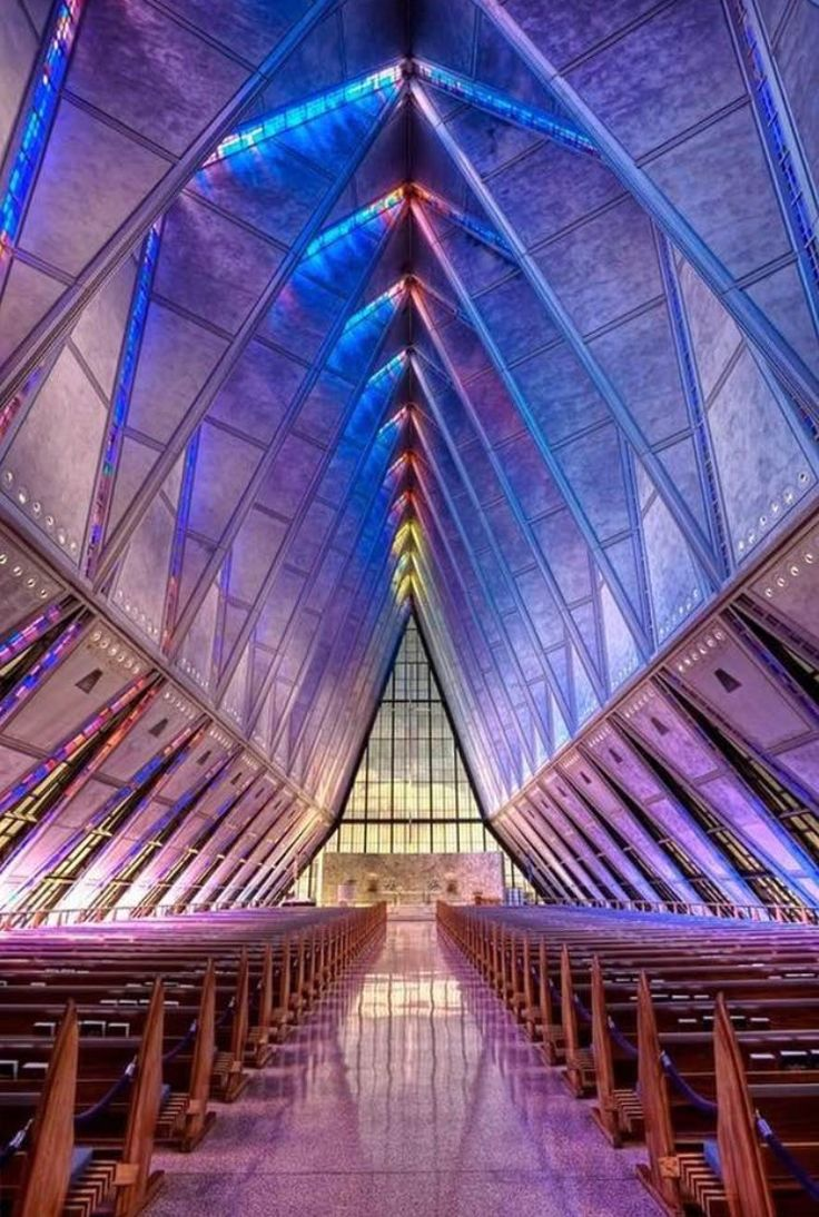 Glass chapel at Air Force Academy in Colorado Springs by