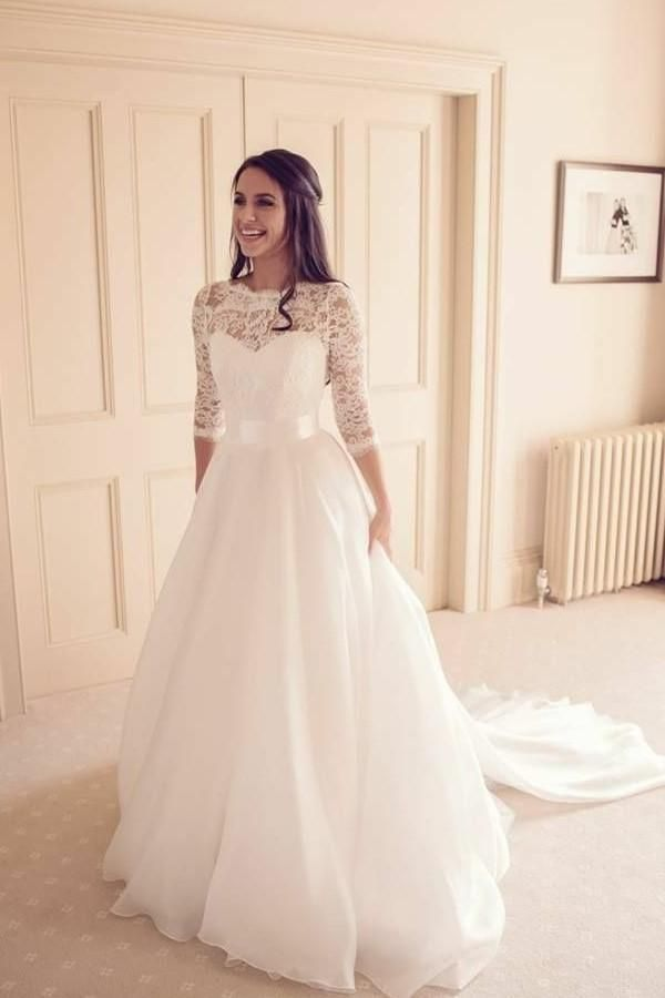See Through Neckline Lace Ivory Wedding Dresses 3 4 Sleeves Lace Wedding Dress With Sleeves Modest Bridal Gowns Aline Wedding Dress