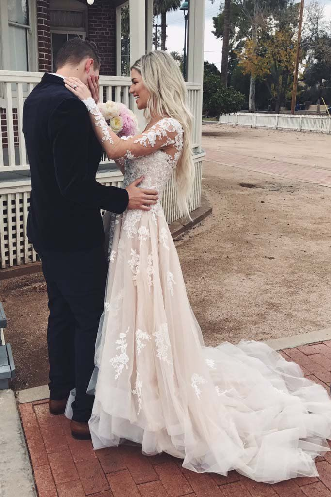 A Line V Neck Asymmetrical Long Sleeve Lace Tulle Wedding Dresses With Train Pr Champagne Wedding Dress Lace Wedding Dress Champagne Wedding Dress Long Sleeve