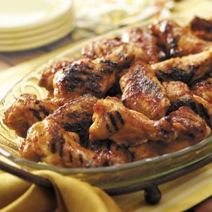 Grilled Glazed Drummies Recipe -My family prefers these mild-tasting chicken wings more than the traditional hot wings. They are great for any gathering. —Laura Mahaffey, Annapolis, Maryland