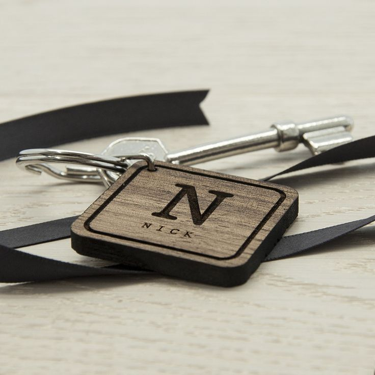Personalised Square Wooden Key Ring - yourgifthouse