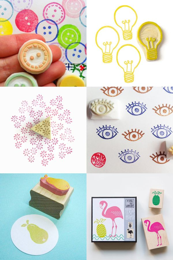 Rubber stamps to make your own fabric, packaging, cards...