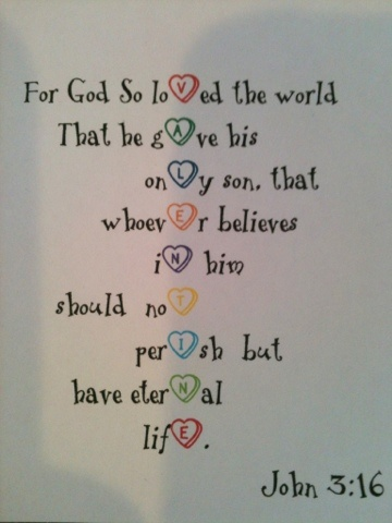 Valentine's Verse: this would be cute for a children's Sunday school project for Valentine's day...