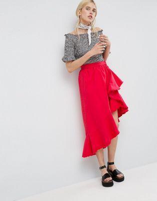 ASOS | ASOS Denim Flamenco Skirt in Red