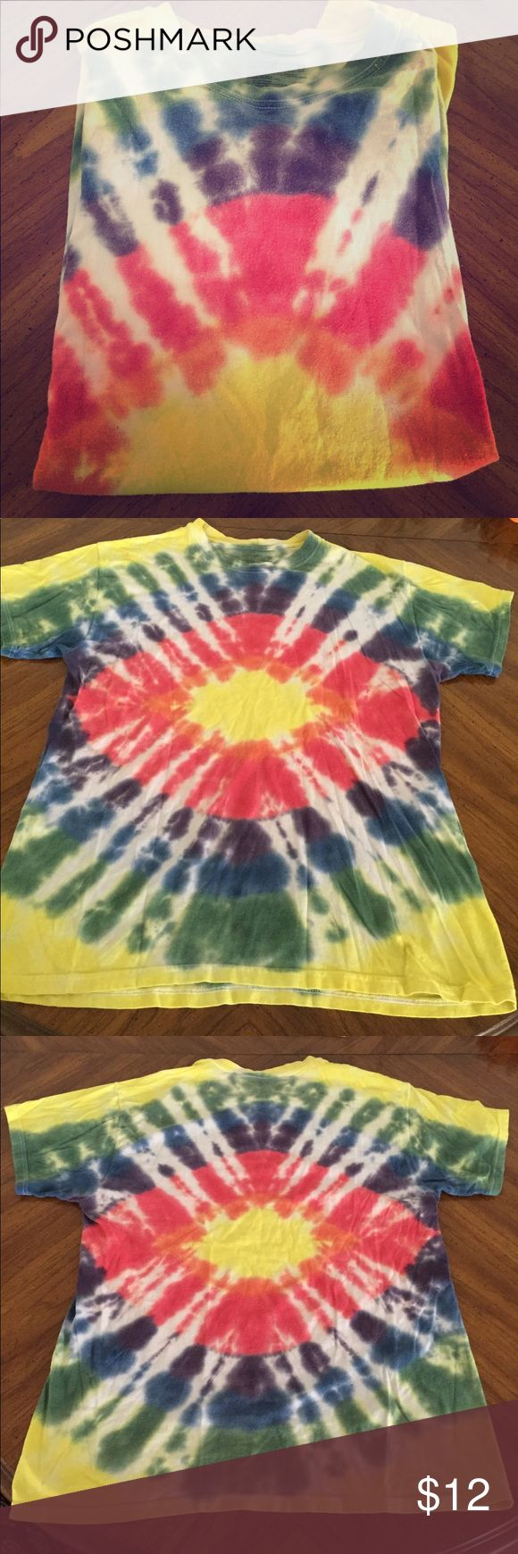 Tie dyed shirt Tie dyed shirt. Hanes comfort soft shirt. Hand dyed. Cool rainbow colored design. Regular wear. Will except all reasonable offers! Hanes Tops Tees - Short Sleeve