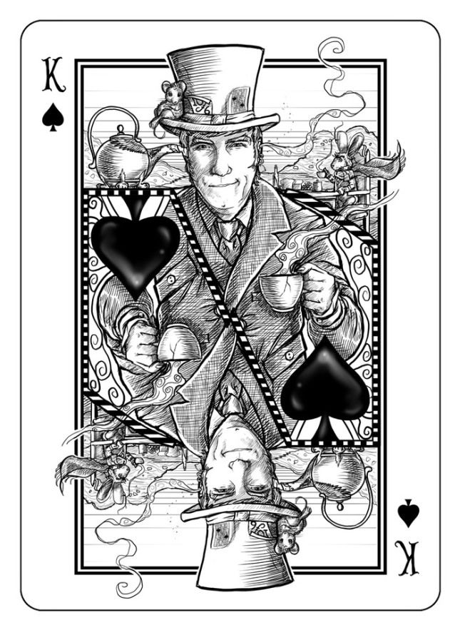 Bicycle The White Rabbit Playing Cards - King of Spades | more here: http://playingcardcollector.net/2013/06/30/bicycle-white-rabbit-playing-cards/