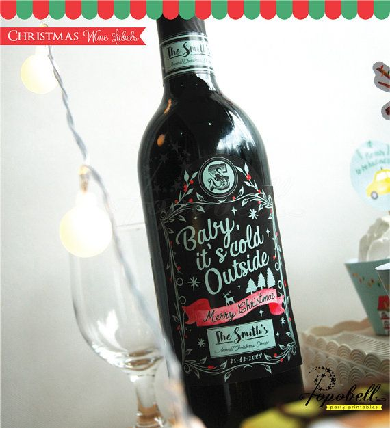 Christmas Wine Labels. Personalized Christmas Labels by Popobell