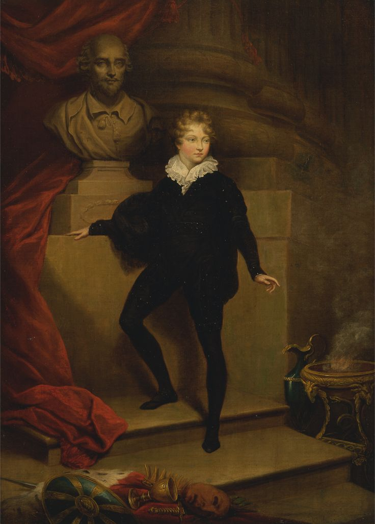 Master Betty as Hamlet, Before a Bust of Shakespeare. James Northcote. 1804-1806.