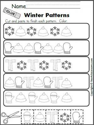 free winter patterns cut and paste worksheet teacher ideas pinterest kindergarten. Black Bedroom Furniture Sets. Home Design Ideas
