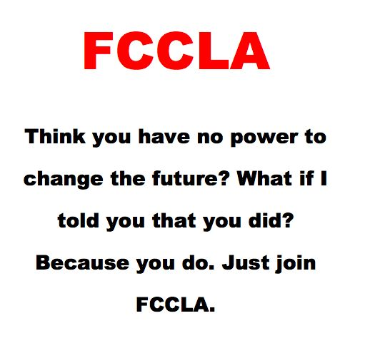 Spread the Red day!!  It's true, FCCLA gives you amazing opportunities! You learn leadership skills, how doe a more effective member of your family and community and prepare yourself for the workforce. Why not join FCCLA??