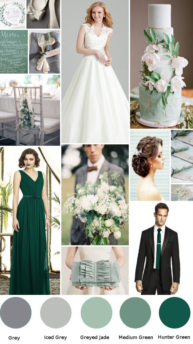 Hunter Green Wedding With Grey
