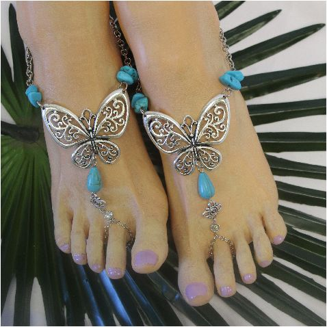 45272afe019323 BUTTERFLY - barefoot sandals - silver (ooak)