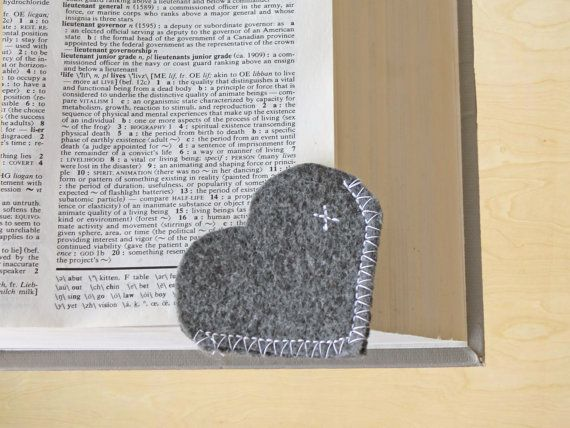 Heart Felt Bookmark - Gray with White Stitching - Fits on the Corner of a Page, I Love to Read