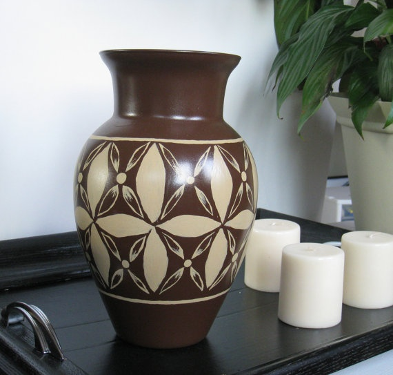 Brown Vase with Hand Painted Khaki Colored Tropical Design by Noelani's, $28.00