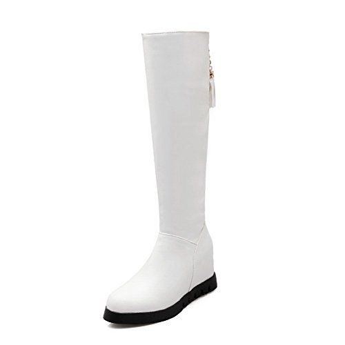 1TO9 Womens Metal Ornament Wellington Boots Round Toe White Imitated Leather Boots  55 BM US ** You can get additional details at the image link.