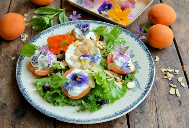 http://www.lavenderandlovage.com/recipe/provencal-stuffed-apricot-goats-cheese-salad-with-edible-flowers-2