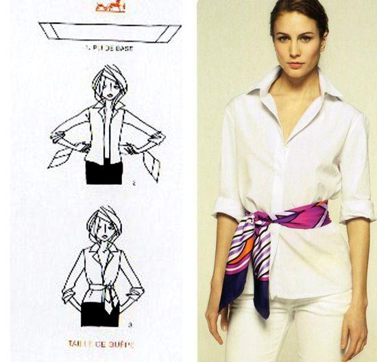 Hermes scarf as belt