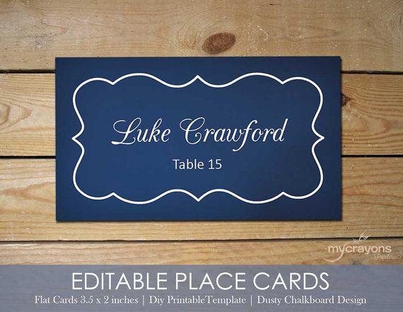 Navy Chalkboard Wedding // Editable Printable Placecards, Printable Escort Cards by MyCrayons // Navy Blue Wedding