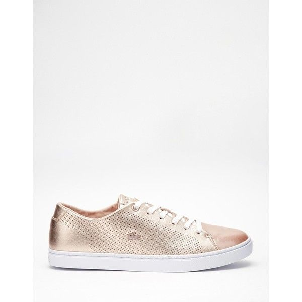 Lacoste Showcourt Lace 2 Rose Gold Leather Trainers ($120) ❤ liked on Polyvore featuring shoes, sneakers, crocs shoes, leather sneakers, lacoste shoes, lacoste trainers and crocodile shoes