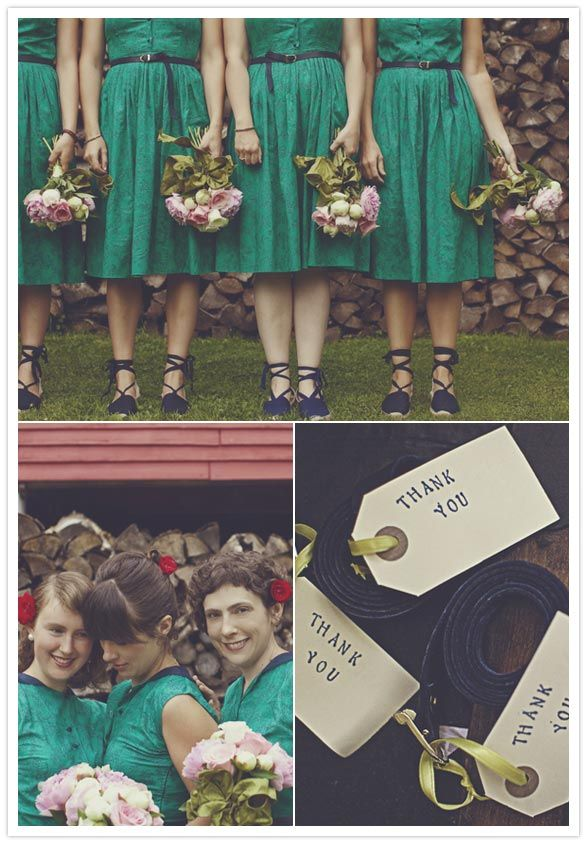 navy blue and bright green vintage bridesmaid dresses